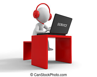 Customer service - Desk,computer , a businessman working,...