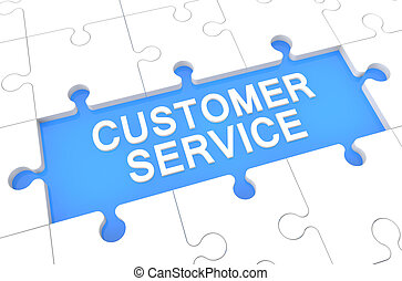 Customer Service - puzzle 3d render illustration with word...