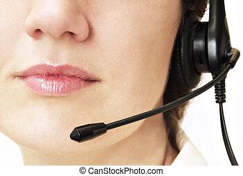 Customer service - Customer assistance operator close up...