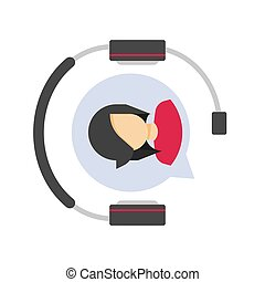 Customer service support logo icon or client assistance help desk agent in headset or headphones call center symbol vector flat, telephone online operator assistant logotype with female person