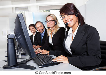 Customer service support people - Group of young business ...