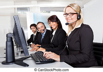 Customer service support people - Group of young business...