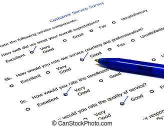 Customer Service Survey  - Pen on customer Service Survey