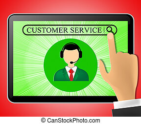 Customer Service Tablet Represents Support 3d Illustration