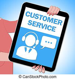 Customer Service Tablet Showing Support 3d Illustration