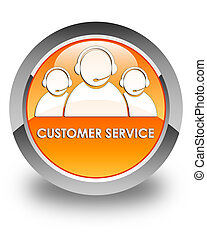 Customer service (team icon) glossy orange round button