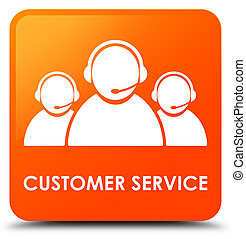 Customer service (team icon) orange square button