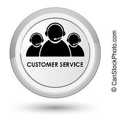 Customer service (team icon) prime white round button