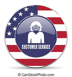 Customer service usa design web american round internet icon with shadow on white background.