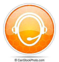 Customer service web icon. Round orange glossy internet button for webdesign.