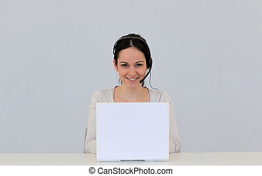 Customer service woman on white background