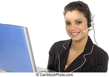 Customer Service - Young Hispanic business woman with...