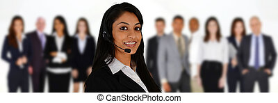 Customer Service - Young woman giving help as a customer ...