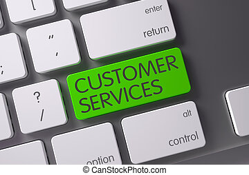 Customer Services Button. 3D Illustration.