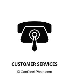 customer services icon, black vector sign with editable strokes, concept illustration