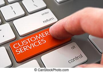 Customer Services - Modern Laptop Keyboard Concept.
