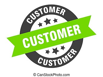 customer sign. customer black-green round ribbon sticker