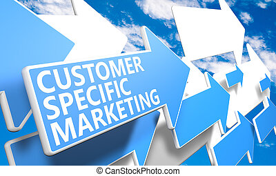 Customer Specific Marketing 3d render concept with blue and white arrows flying in a blue sky with clouds