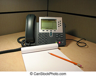 Customer support 2 - IP phone on the desk in the office with...