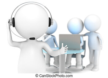 Customer Support. - 3D little human character with a Headset...