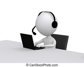 Customer Support. 3D little human character with a Headsets and a Laptop Computer