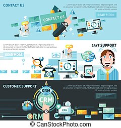 Customer Support Banners Set