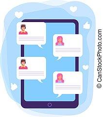 Customer support chart concept. Vector design graphic flat cartoon illustration