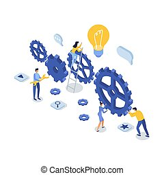 Customer support concept. Isometric vector illustration.