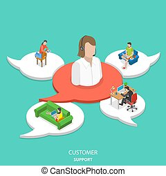 Customer support flat isometric vector concept.