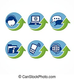 Customer support icons with arrow