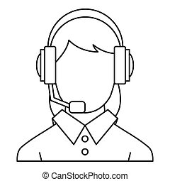 Customer support operator icon, outline style