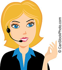 Smiling operator at call center in Vector format