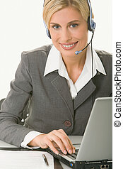 Customer support operator - Portrait of friendly smiling...