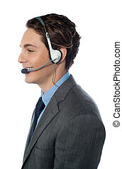 Customer support operator. Man smiling isolated