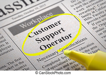 Customer Support Operator Vacancy in Newspaper.
