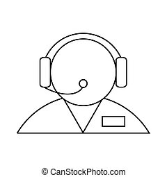 Customer support operator with a headset icon