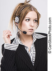 Customer support operator woman speaking to the customers -...