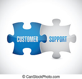 customer support puzzle pieces illustration design over a ...