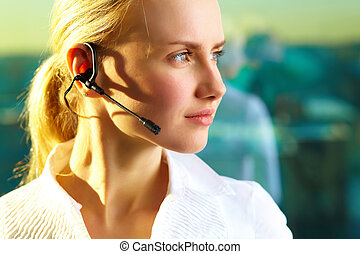 Customer support representative - Image of pretty woman with...