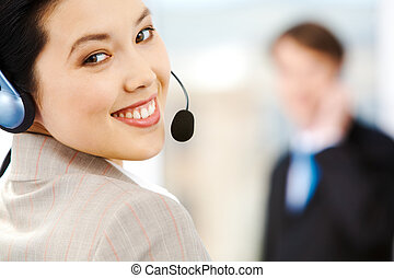 Customer support service - Portrait of attractive customer...