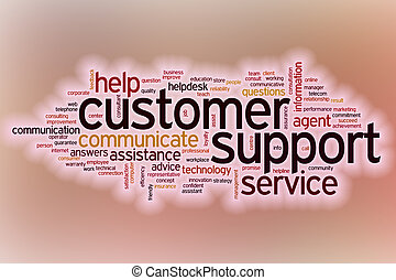 Customer support word cloud with abstract background