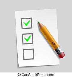 customer survey check mark illustration design