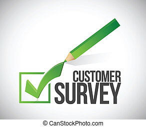 customer survey check mark illustration design over a white...