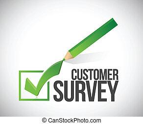 customer survey check mark illustration design over a white...