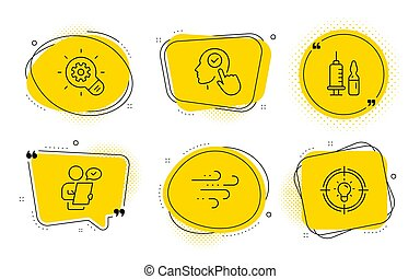 Customer survey, Windy weather and Select user icons set. Cogwheel, Medical vaccination and Idea signs. Vector