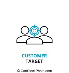 Customer target concept , outline icon, linear sign, thin line pictogram, logo, flat vector, illustration