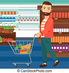 Customer with trolley. - A hipster man with the beard...