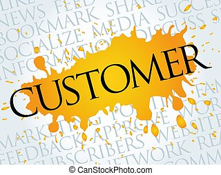 Customer word cloud, technology business concept background