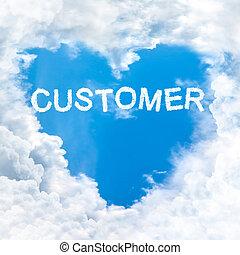 customer word on blue sky inside heart cloud form