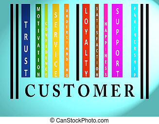 Customer word on colored barcode